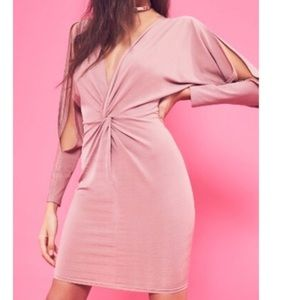 Misguided Twist Front Dress with Slit Sleeves